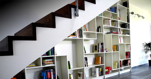 Sideways Style Stairs with Open Shelves